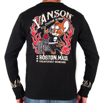 【VANSON-バンソン-】 (全1色) 半袖Tシャツ NVST-720、黒 バイカー・アメカジ・ロック 〔スター ボックスロゴ 英字 刺繍 ウォバッシュ柄〕 M〜XXL、2017年夏モデル